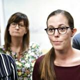 Pernille Rosenkrantz-Theil (A), Marlene Borst Hansen (B), børne- og socialminister Mai Mercado og Jacob Mark (F) præsenterer ghettodelaftale i Børne- og Socialministeriet i København mandag 28. maj 2018.