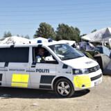 Politiet på patrulje i campingområdet tirsdag den 3. juli 2018. (Foto: Jens Nørgaard Larsen/Scanpix 2018)