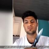 """I video siger 17-årig afghaner på pashto, at han vil udføre et angreb i Tyskland. Mohammed Riyadh præsenterer sig som """"kalifatets soldat"""". Han stod bag angreb i tysk tog mandag aften. Reuters/Reuters Tv"""