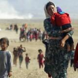 Et arkivbillede fra 2014 viser kvinder og børn på vej mod den Syriske grænse efter at have opholdt sig på Sinjar-bjerget - på flugt fra Islamisk Stat.