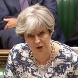 """Den britiske premierminister, Theresa May, har nu offentliggjort sit udspil om EU-borgernes rettigheder i Storbritannien efter Brexit - og de britiske borgeres rettigheder i EU. EUs chefforhandler, Michel Barnier, har straks meldt ud, at det ikke er vidtrækkende nok. / AFP PHOTO / PRU AND AFP PHOTO / HO / RESTRICTED TO EDITORIAL USE - MANDATORY CREDIT """" AFP PHOTO / PRU """" - NO USE FOR ENTERTAINMENT, SATIRICAL, MARKETING OR ADVERTISING CAMPAIGNS"""