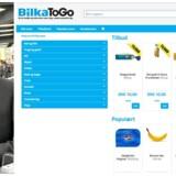Kenneth Nielsen, koncerndirektør i Dansk Supermarked, med ansvar for E-commerce, samt et screenshot af Bilkas nye hjemmeside. (Foto: Axel Schütt/Scanpix 2015)