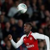 Indskiftede Edward Nketiah scorede begge mål, da Arsenal vendte 0-1 til 2-1 mod Norwich i Liga Cuppen. Scanpix/Peter Cziborra