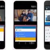 I den nye Android 7 kan man have flere vinduer fremme samtidig (til venstre). Det er lettere at skifte mellem åbne programmer ved at bruge programvælgerknappen i nederste, højre hjørne (i midten), og man kan svare på notifikationer direkte, når man ser dem, uden først at skulle åbne programmet. Fotos: Google