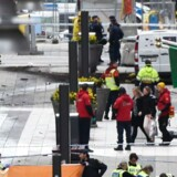 Emergency services work at the scene where a truck crashed into the Ahlens department store at Drottninggatan in central Stockholm, April 7, 2017.