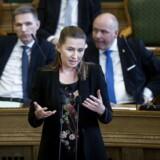 Mette Frederiksen (S) under spørgetime med statsminister Lars Løkke Rasmussen (V) i Folketinget, tirsdag den 27. februar 2018.. (Foto: Liselotte Sabroe/Scanpix 2018)