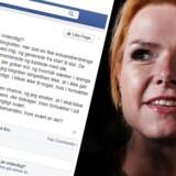 Screendump af Inger Støjbergs Facebook-opdatering, der i dag har vakt debat.