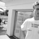 Hotel Marina var i mange år fodboldlandsholdets faste ramme om forberedelserne til landskampene. Her møder Brian Laudrup pressen forud for en kamp. Foto: Liselotte Sabroe.
