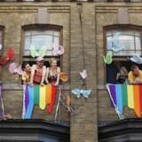 Her ses mennesker under festivalen WorldPride i Toronto i juni 2014. Regeringen vil have festivalen og sportseventet Eurogames til København i 2021. Reuters/Mark Blinch