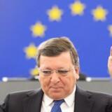 Jose Manuel Barroso, der var formand for EU-Kommissionen fra 2004 til 2014, er kommet under heftig kritik, fordi han nu skal rådgive storbanken Goldman Sachs i kølvandet af Brexit. Her ses han under en tale i Europa-Parlamentet i Strasbourg, Frankrig. EPA/PATRICK SEEGER