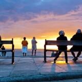 Solnedgang ved den kendte solnedgangs-plads i Gl. Skagen. Foto: Nikolai Linares Nikolai Linares Nikolai Linares