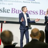 Berlingske Business Briefing afholdt hos PWC i Hellerup. På scenen var Erhvervsredaktør Peter Suppli Benson(th.) der interviewede Søren Nielsen(tv.), CEO i William Demant pr. 1.april 2017.
