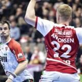 KIFs Bo Spellerberg i kampen mellem Aalborg Håndbold og KIF Kolding København i 888ligaen i Gigantium Arena, Aalborg, 16. december 2017 .. (Foto: Henning Bagger/Scanpix 2017)