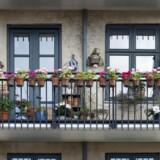 Altaner med blomster, urtepotter på huse på Nørrebro.