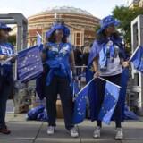 Pro-EU-demonstranter uddeler EU-flag til koncertgængere udenfor Royal Albert Hall i London. / AFP PHOTO / NIKLAS HALLE'N