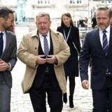 Rasmus Jarlov, Lars Løkke Rasmussen og Anders Samuelsen ankommer til Christiansborg slotskirke. Folketinget åbner tirsdag den 3. oktober 2017.