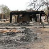 Billede fra byen Baga i det nordøstlige Nigeria taget 21. april 2013 efter kampe mellem regeringshæren og terrororganisationen Boko Haram. Foto: AFP