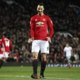 Zlatan Ibrahimovic udlignede til 1-1 for Manchester United mod West Ham i søndagens opgør i Premier League. Reuters/Carl Recine
