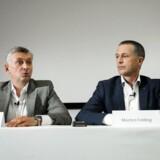 Den norske topchef for Atea, Steinar Sønsteby samt adm. dir. for Ateas danske forretning, Morten Felding.. (Foto: Jens Astrup/Scanpix 2017)