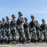 Kinesiske soldater marcherer hen over Den Himmelske Fredsplads i den kinesiske hovedstad, Beijing, under torsdagens pompøse fejring af 70-året for afslutningen på Anden Verdenskrig.