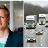 Danske bilister skal lære at holde til højre. Rasmus Wagner (tv.) har stiftet Facebook-gruppen »Hold til højre«, der spreder budskabet.