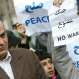 Ciamak Morsadegh (tv) er det eneste jødiske medlem af det iranske parlament. Han  deltog i en protest uden for FNs hovedkvarter i Teheran mod de israelske angreb i Gaza.