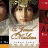 Forsiden af Sherry Jones' ganske middelmådige bog i amerikansk udgave (tv), britisk (midten) og tysk (th).