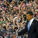Barack Obama holdt i går aftes tale i Berlin.