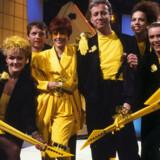Vinderne af det danske melodi-grand prix I 1988 gruppen hot eyes, med Kirsten og Søren i hovedrollerne - så bliver det vist ikke mere 80'er...
