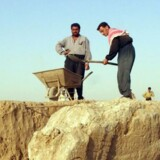 Irakiske arbejdere graver en statue – en bevinget tyr – fri på et udgravningssted i Nimrod, 35 kilometer sydøst for Mosul i Irak i juli 2001, da Saddam Hussein fortsat var ved magten. Tyren er en assyrisk guddom med beskyttende egenskaber.