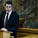 Statsminister Anders Fogh Rasmussen fra Folketingets talerstol. Foto: Claus Bjørn Larsen