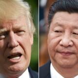 Kina vil have WTO til at indføre handelssanktioner mod USA, som landet ligger i handelsstridigheder med. Udmeldingen kommer i relation til en sag om dumping-told, som Kina indledte mod USA i 2013. ARKIVFOTOS af USA's præsident Donald Trump og Kinas øverste leder Xi Jinping (Mandel nGAN / Nicolas Asfouri / AFP / Ritzau Scanpix.)