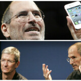 Sådan ser en rigtig størrelse telefon ud, fastslog Apple-stifter Steve Jobs, da han i 2010 fremviste iPhone 4. I et efterfølgende interview med nuværende topchef Tim Cook revsede han konkurrenterne for at lave store telefoner - nu overhaler Apple dem alle. Arkivfotos: Kimberly White og Robert Galbraith, Reuters/Scanpix