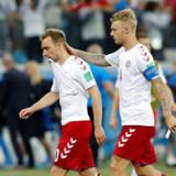 Både Christian Eriksens (tv.) og Simon Kjærs personlige sponsorater har karamboleret med landsholdets sponsorer og er en af årsagerne til den nuværende konflikt mellem landsholdsspillerne og DBU. Arkivfoto: Darren Staples/Reuters