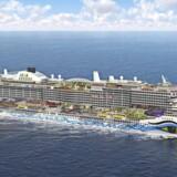 Det gigantiske krydstogtskib med det iøjnefaldende design. Foto: AIDA Cruises