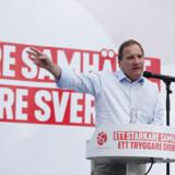Russiske politikere har presset på for en »fuldstændig overvågning« af de kommende valg i Sverige. Her ses den nuværende statsminister, Stefan Löfven, under et vælgermøde.