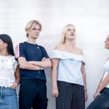 Fra venstre Agnes, 18, Mads, 18, Linnea, 18, Amanda, 17. De går alle fire i 2.g på Birkerød GymnasiumAmanda anerkender, at man gerne vil være med for at skabe sig nogle sociale relationer, men hun anerkender ikke præmissen om, at der et overlagt gruppepres på putterne.