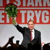 Socialdemokraternas Stefan Löfven under valgaftenen på Färgfabriken i Stockholm.