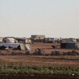 Teltlejr for syriske flygtninge i Idlib-provinsen, hvor halvdelen af befolkningen på 2,3 millioner mennesker er fordrevne fra andre dele af Syrien.