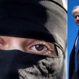 Den tidligere britiske udenrigsminister, Boris Johnson, har skabt internationalt røre ved at sige, at kvinders niqab ligner en postkasse. Foto: Mads Claus Rasmussen og Oli Scarff/Scanpix Ritzau