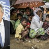 António Guterres, FNs generalsekretær, appellerer til, at verdenssamfundet træder til med hjælp til rohingya-flygtningene, der er flygtet fra Myanmar til Bangladesh. På billedet til højre ses en gruppe flygtninge i kø til nødhjælp i verdens i øjeblikket største flygtningelejr uden for Cox's Bazar i Bangladesh. Foto:Ezequiel Becerra/AFP/Ritzau Scanpix og Asger Ladefoged