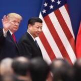 USA's præsident, Donald Trump, møder Kinas præsident, Xi Jinping, 9. november 2017, før handelskrigen blev en realitet.