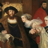 Eilif Peterssens maleri fra 1875 viser Christian 2., der netop har bekræftet dødsdommen over Torben Oxe efter Dyvekes død. Bogens omslag.