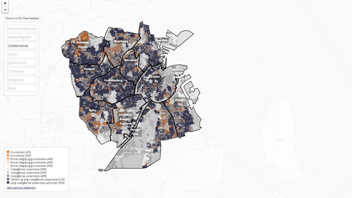 Detaljeret Kort Se Kobenhavnernes Indkomst Alder Uddannelse Og