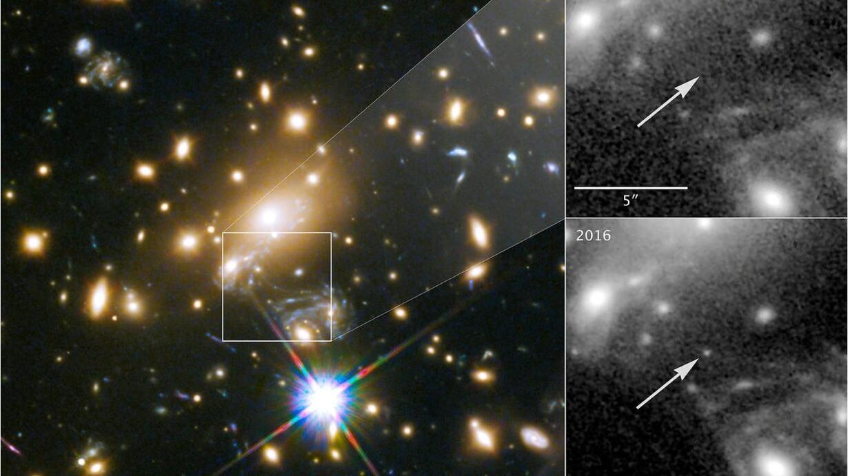 054c6b94c36c49 Galakserne i firkanten til venstre får rummet til at bøje og virke som et  gigantisk forstørrelsesglas. På den måde var det muligt at få øje på  stjernen ...