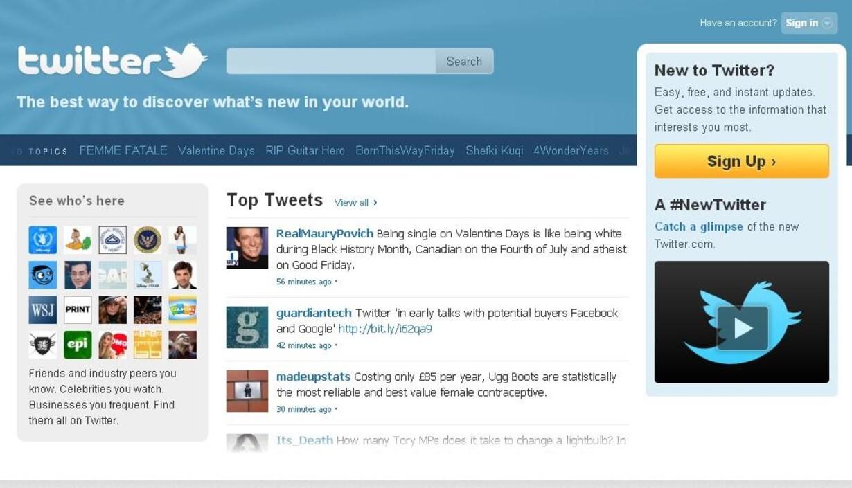 Twitter forhandler med Google og Facebook om salg