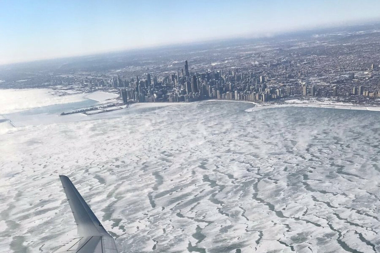 A view of frozen Lake Michigan