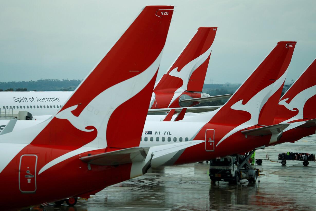 FILE PHOTO: Qantas aircraft ar
