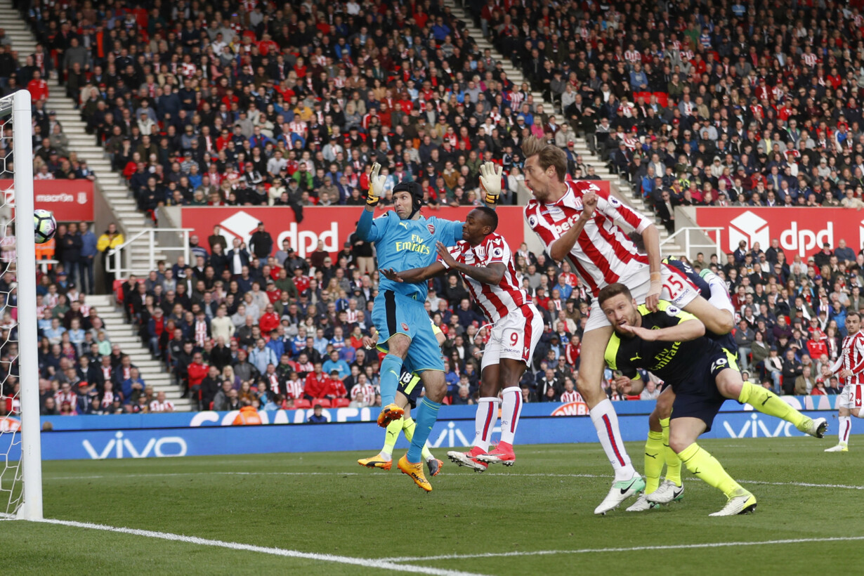 Stoke City''s Peter Crouch sco