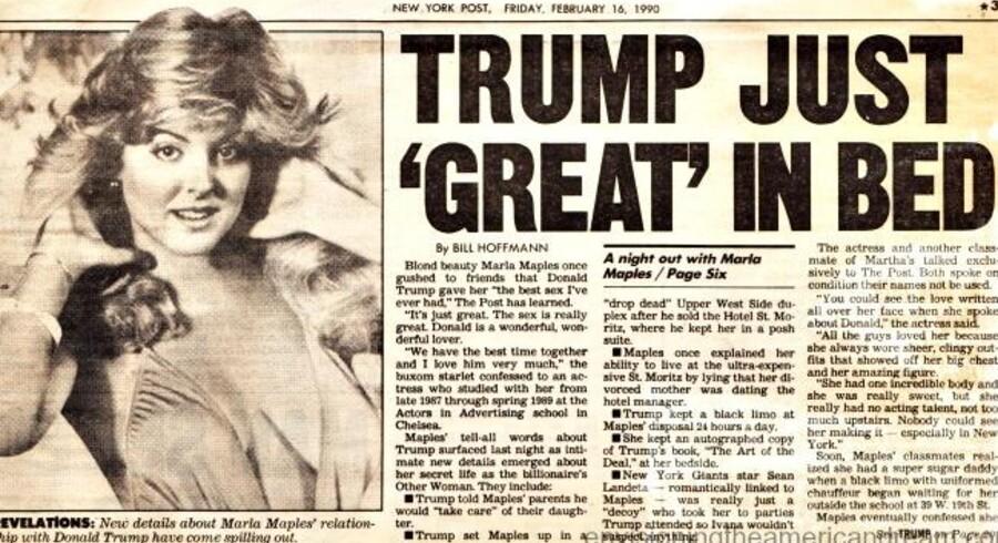 En avisoverskrift fra dengang, alt var fryd og gammen mellem Trump og Marla Maples. Nu er hun hovedmistænkt bag afsløringen af hans selvangivelse fra 1995.